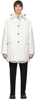 Kassl Editions White Above The Knee Oil Puffer Coat
