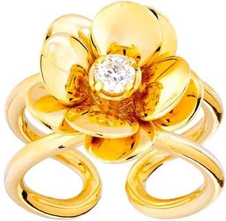 GUITA M 18kt Yellow Gold Diamond Flower Ring