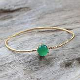 Gold Plated Green Onyx Bangle Pendant Bracelet from Thailand, 'Meteor'