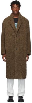 Neil Barrett Brown Oversized Eco-Fur Coat