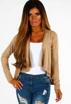 Pink Boutique Yasmina Camel Faux Suede Waterfall Jacket