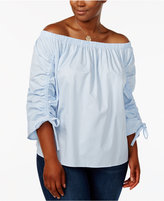 Soprano Trendy Plus Size Ruched Off-The-Shoulder Top