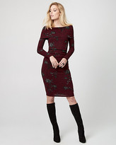 Le Château Floral Print Rib Knit Sweater Dress