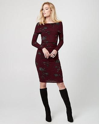 Le Château Floral Print Rib Knit Sweater Dress