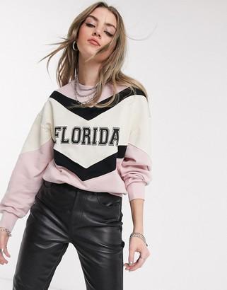 Bershka Florida sweat in pink