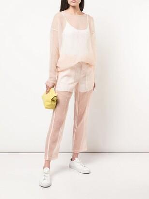 Julien David slim sheer trousers pink
