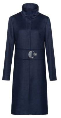 HUGO Stand-collar coat in a wool blend with cashmere