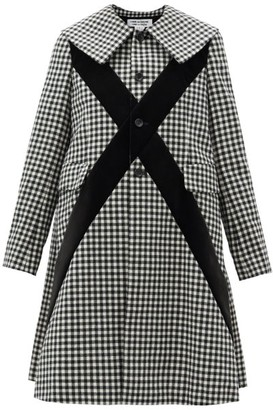 Comme des Garçons Comme des Garçons Velvet-panel Single-breasted Checked Wool Coat - Black White