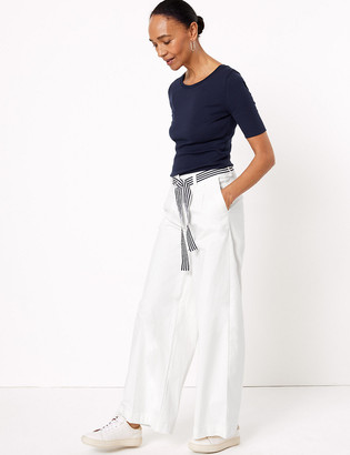 Marks and Spencer Cotton Belted Wide Leg Chinos