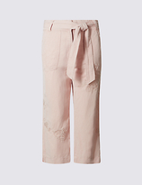 M&S Collection Linen Blend Embroidered Wide Leg Cropped Trousers