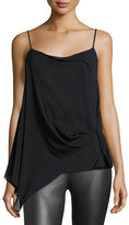 Rag & Bone Irina Draped Stretch Silk Tank, Black