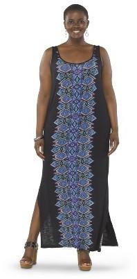 Women's Plus Size Sleeveless Tank Dress Blue/Black-Pure Energy