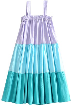 Goodnight Macaroon 'Yanny' Strap Color Block Tiered Dress