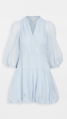 Rebecca Taylor Long Sleeve Organdy Stripe Dress