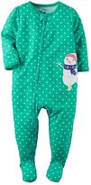 Carter's Toddler Girl Printed Embroidered Footed Pajamas