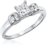 My Trio Rings 5/8 CT. T.W. Diamond Ladies Engagement Ring 10K White Gold- Size 13