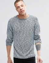 Nudie Jeans Vladimir Crew Sweater in Indigo Slub Blue/Off White