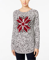 Style&Co. Style & Co Petite Marled Snowflake Sweater, Only at Macy's