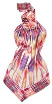 Purple & Fuchsia Lines Printed Silk Halter Top