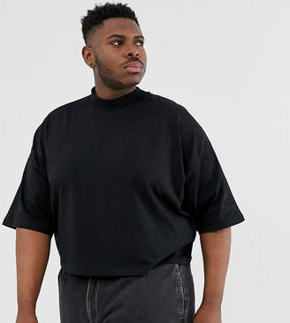 Asos Design DESIGN Plus oversized crop t-shirt with mid sleeve and high neck in black