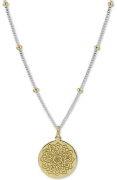 "Argentovivo Two-Tone Flower Etched 18"" Pendant Necklace in Sterling Silver & Gold-Plated Sterling Silver"