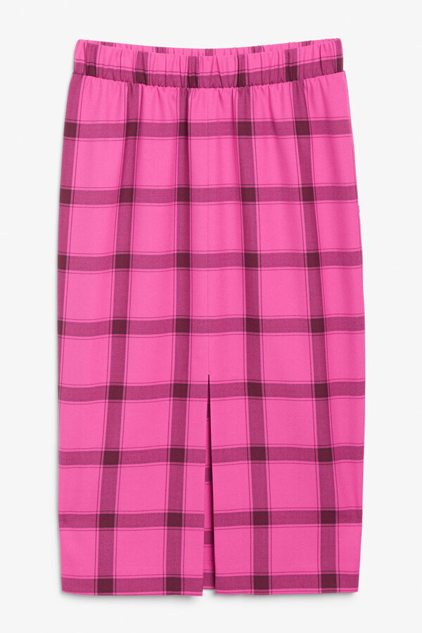 Monki Checked midi skirt