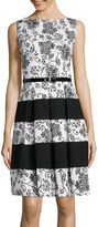 Tiana B Sleeveless Floral Colorblock Belted Fit-and-Flare Dress