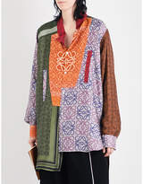 Loewe Patchwork monogram-print oversized silk-twill shirt