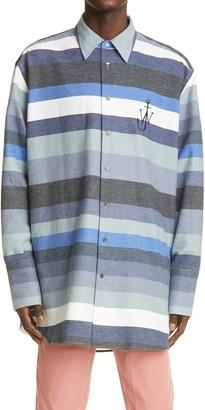 J.W.Anderson Logo Stripe Oversize Flannel Shirt