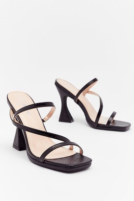 Nasty Gal Womens Croc Everything Faux Leather Stiletto Heels - Black - 3