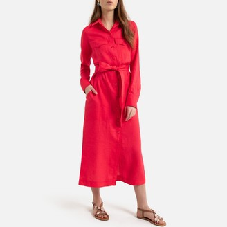La Redoute Collections Linen Midaxi Shirt Dress with Tie-Waist