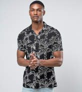 Asos Tall Regular Fit Viscose Shirt With Leaf Print And Revere Collar