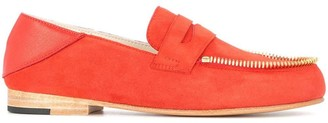 Le Mocassin Zippe Suede Flat Loafers