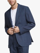 John Lewis & Partners Linen Check Relaxed Fit Suit Jacket, Blue