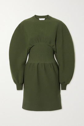 Bottega Veneta Ribbed Wool-blend Mini Dress - Green