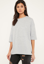 Missguided Grey Pocket Front T Shirt Sweatshirt