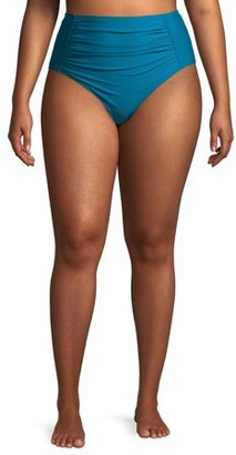 Time and Tru Women's Plus Size Odes Sea Solid Ruched High Waist Swimsuit Bottoms