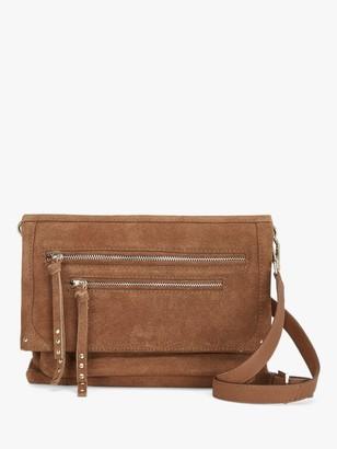Mint Velvet Sophia Leather Zip Cross Body Bag, Brown