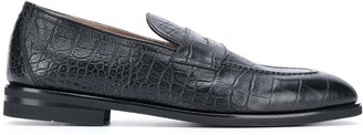 Henderson Baracco Crocodile Effect Penny Loafers