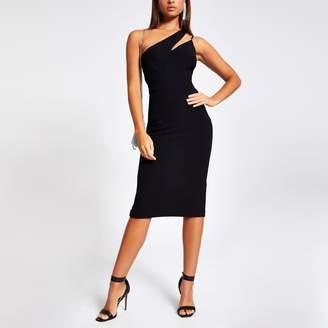 River Island Womens Black one diamante shoulder bodycon dress