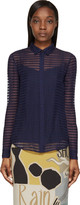 Burberry Bright Navy Sheer Striped Silk Chiffon Shirt