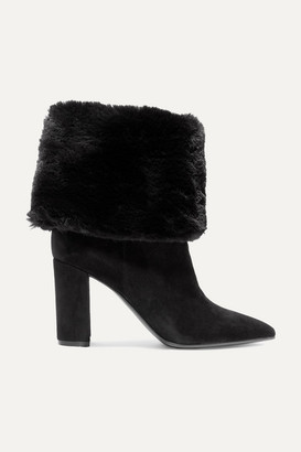 Gianvito Rossi 85 Suede And Faux Fur Ankle Boots - Black