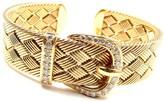 Hermes Diamond 18K Yellow Gold Woven Buckle Bracelet