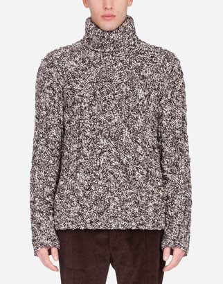 Dolce & Gabbana Oversize Wool Cable-Knit Turtle-Neck Sweater