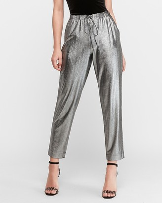 Express High Waisted Metallic Ribbed Jogger Pant