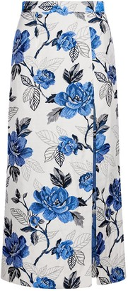Sika'a Floral-Jacquard Midi Skirt