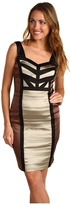 Jax Color Block Stretch Satin Dress (Stone/Henna) - Apparel