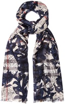 Burberry Beasts-print wool-blend scarf