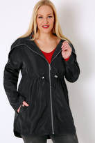 Yours Clothing Black Minimalist Parka Jacket With High Zip Up Neck