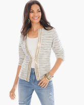 Chico's Sequined-Trim Tweed Cardigan